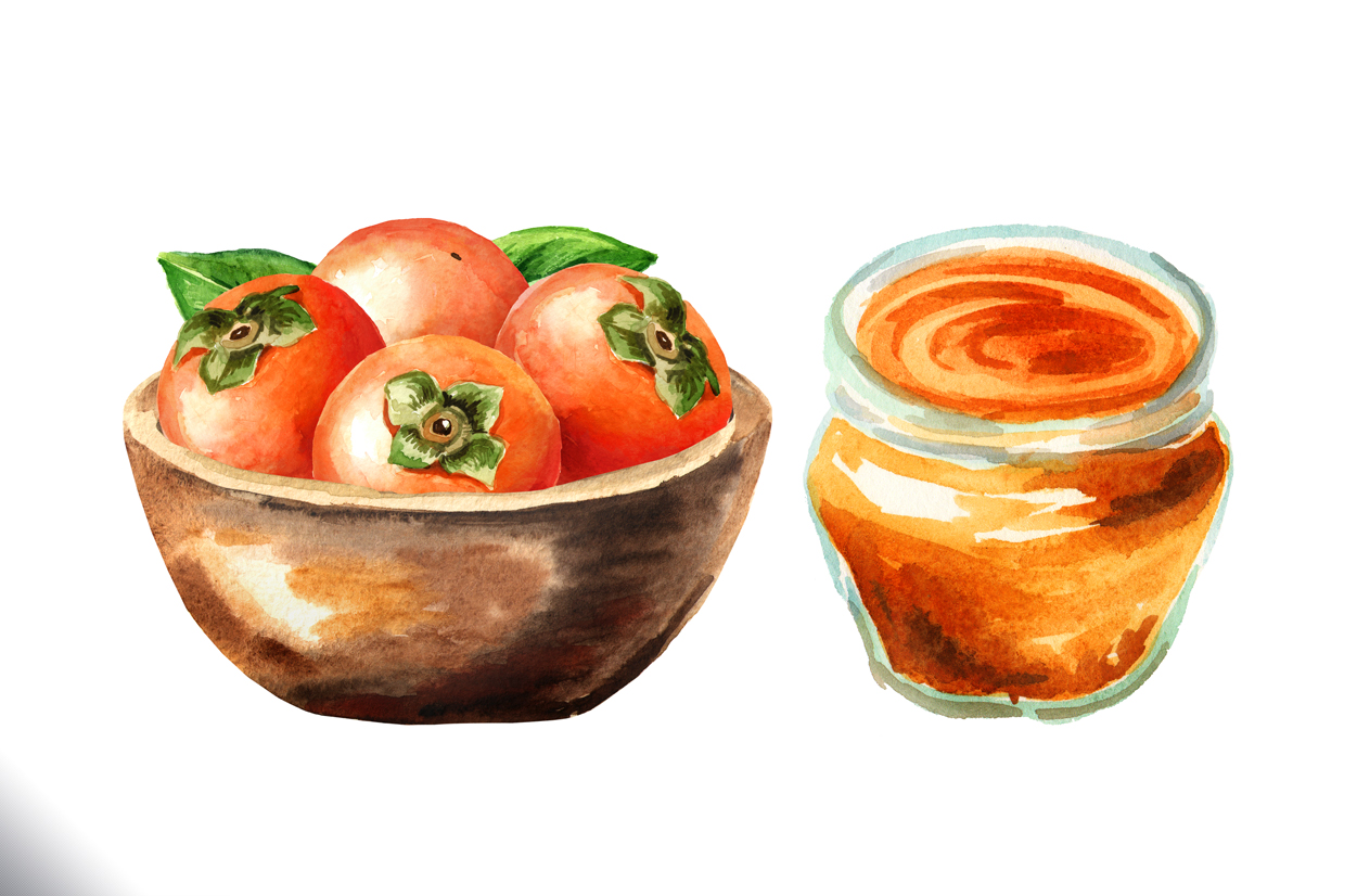 Persimmon. Watercolor set example image 7