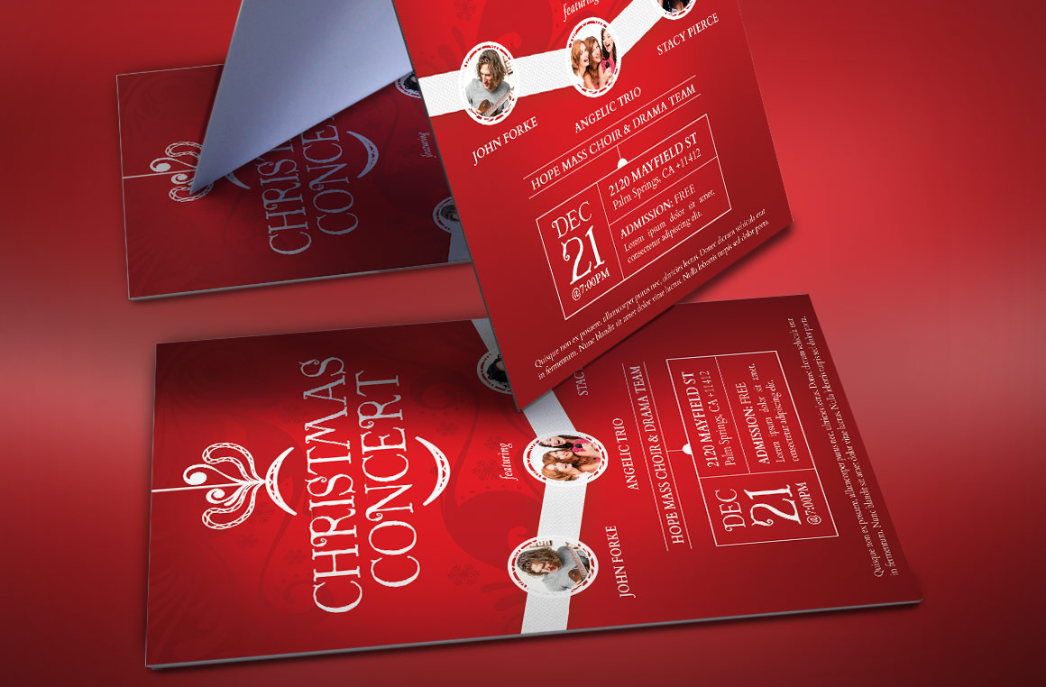 Red Christmas Concert Flyer Template example image 3