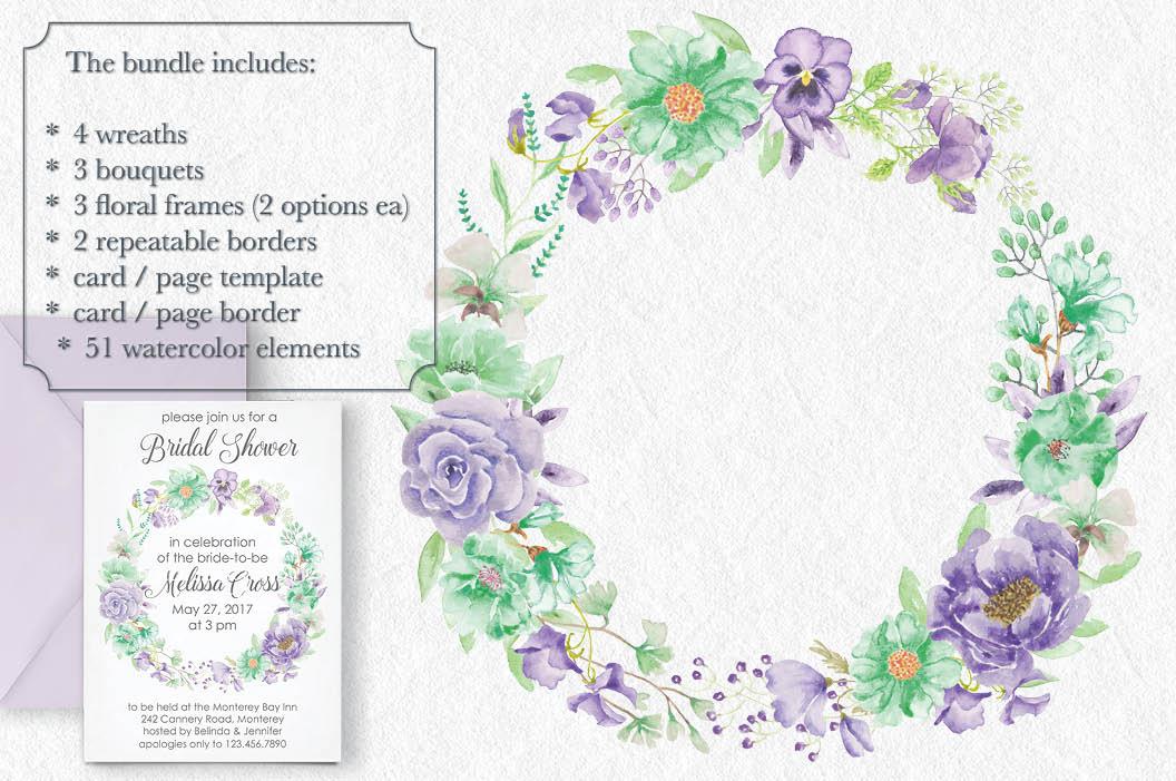'Violet and Mint': watercolor clip art bundle example image 2