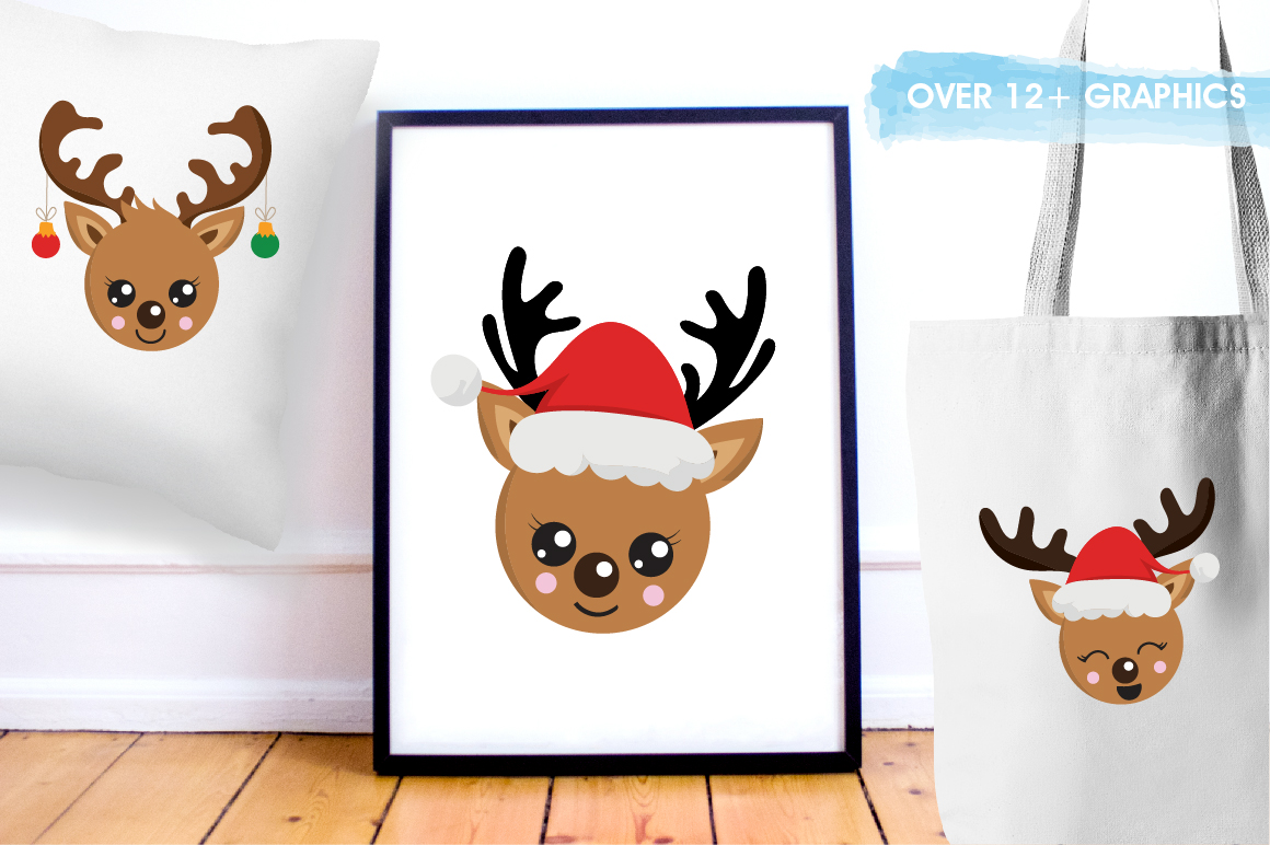 Reindeer faces graphics and illustrations example image 5