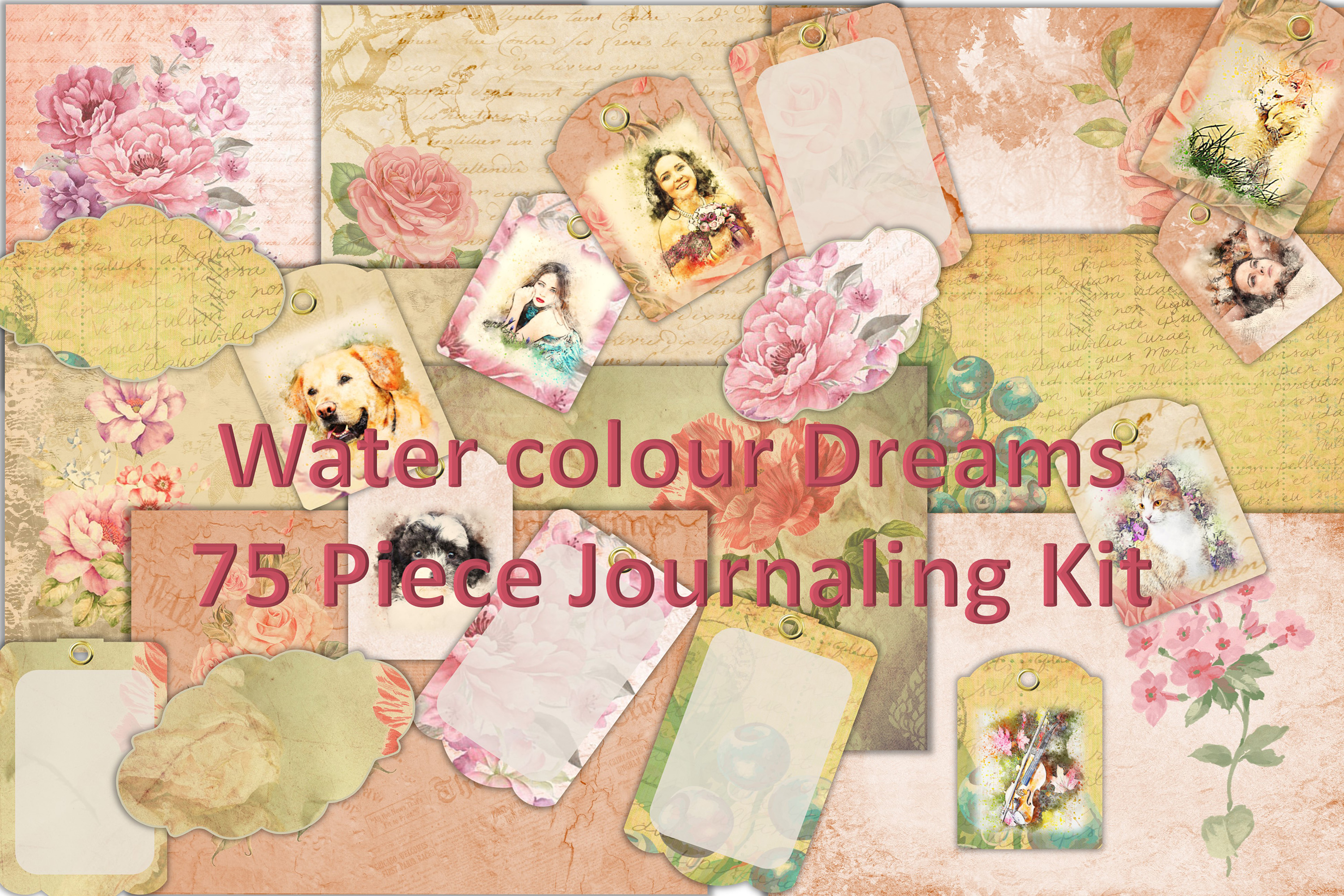 Journaling or scrapbooking kit 75 Piece Bundle PNG and JPEG example image 1