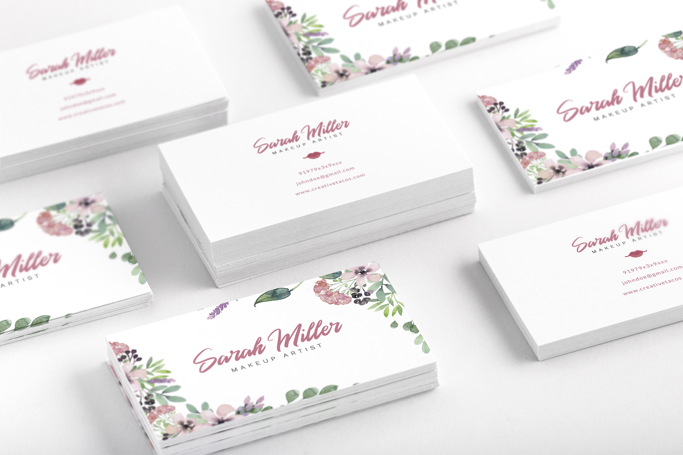 Floral Minimalist Business Card Template example image 3