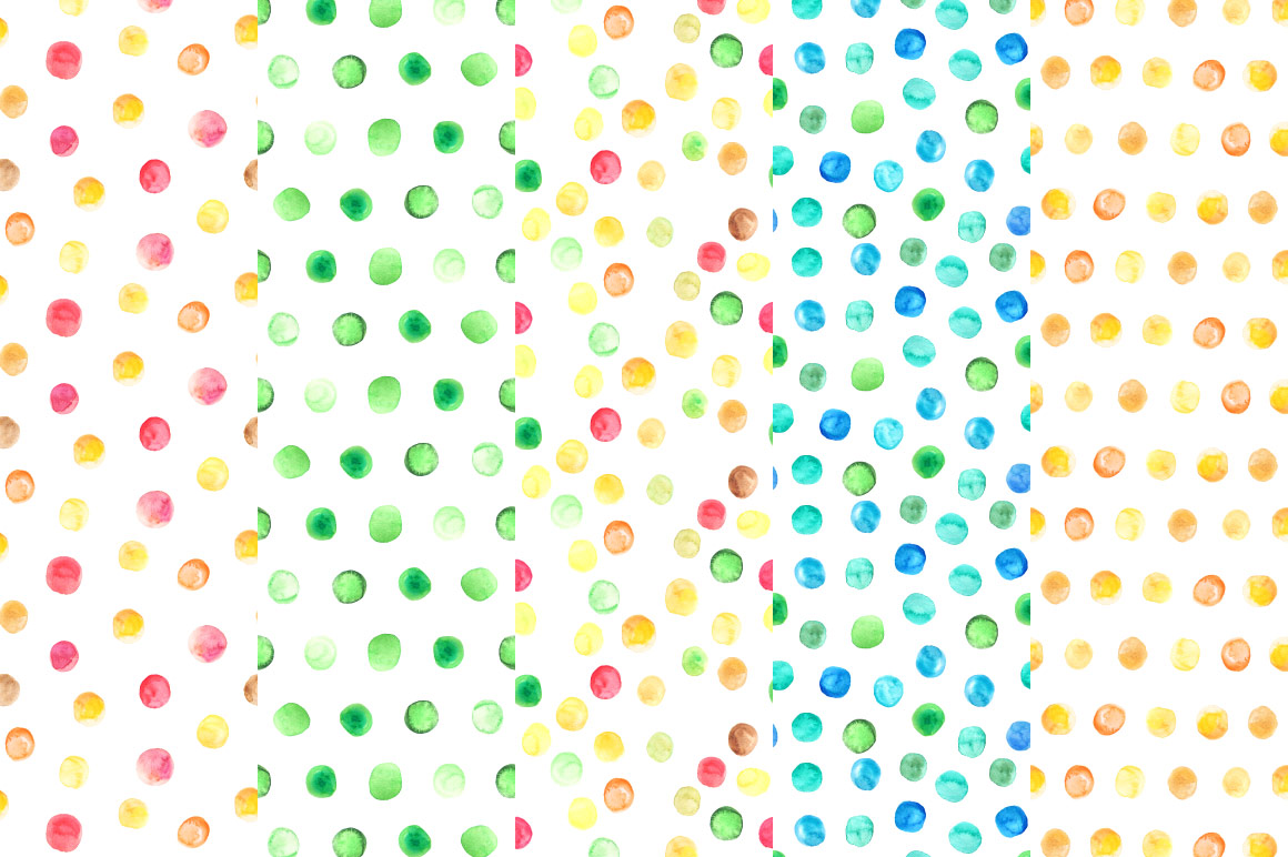 Watercolor Polka Dot Seamless Patterns example image 3