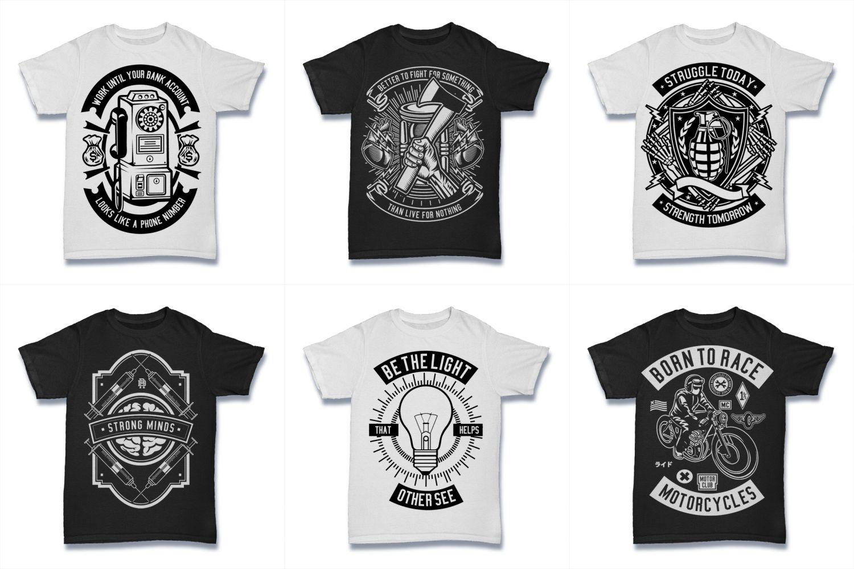 100  Vector Tshirt Designs ( B/W Concept ) example image 8