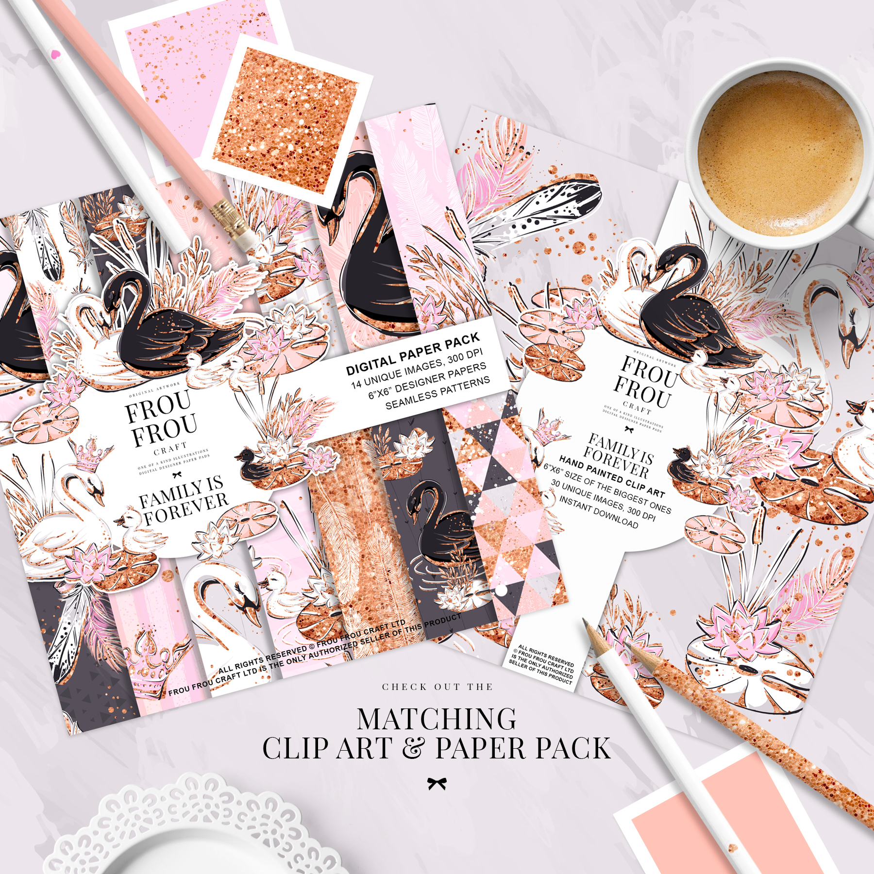 Swan Rose Gold Glitter Nursery Paper Pack example image 3