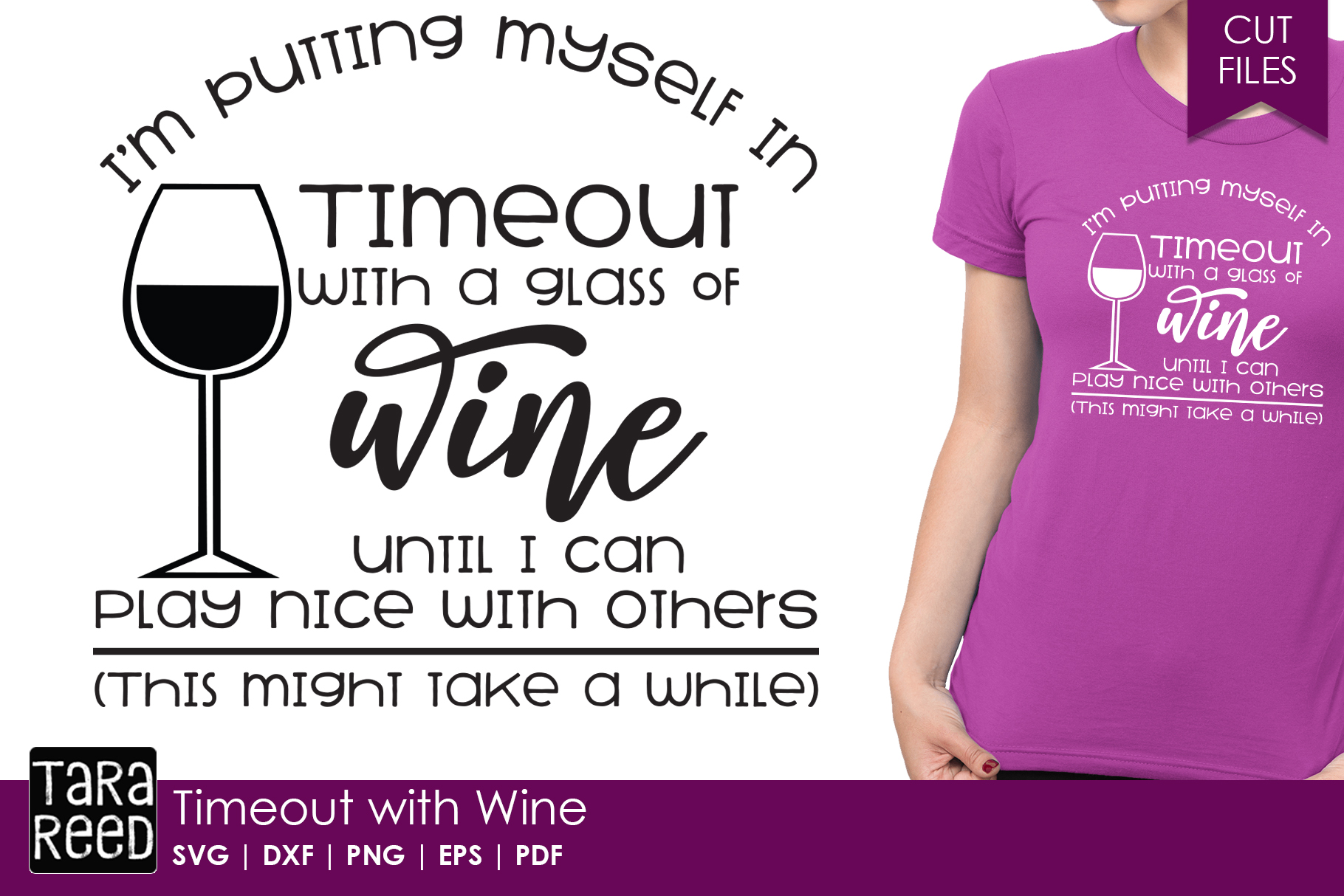 Timeout with Wine - Wine SVG and Cut Files for Crafters example image 1
