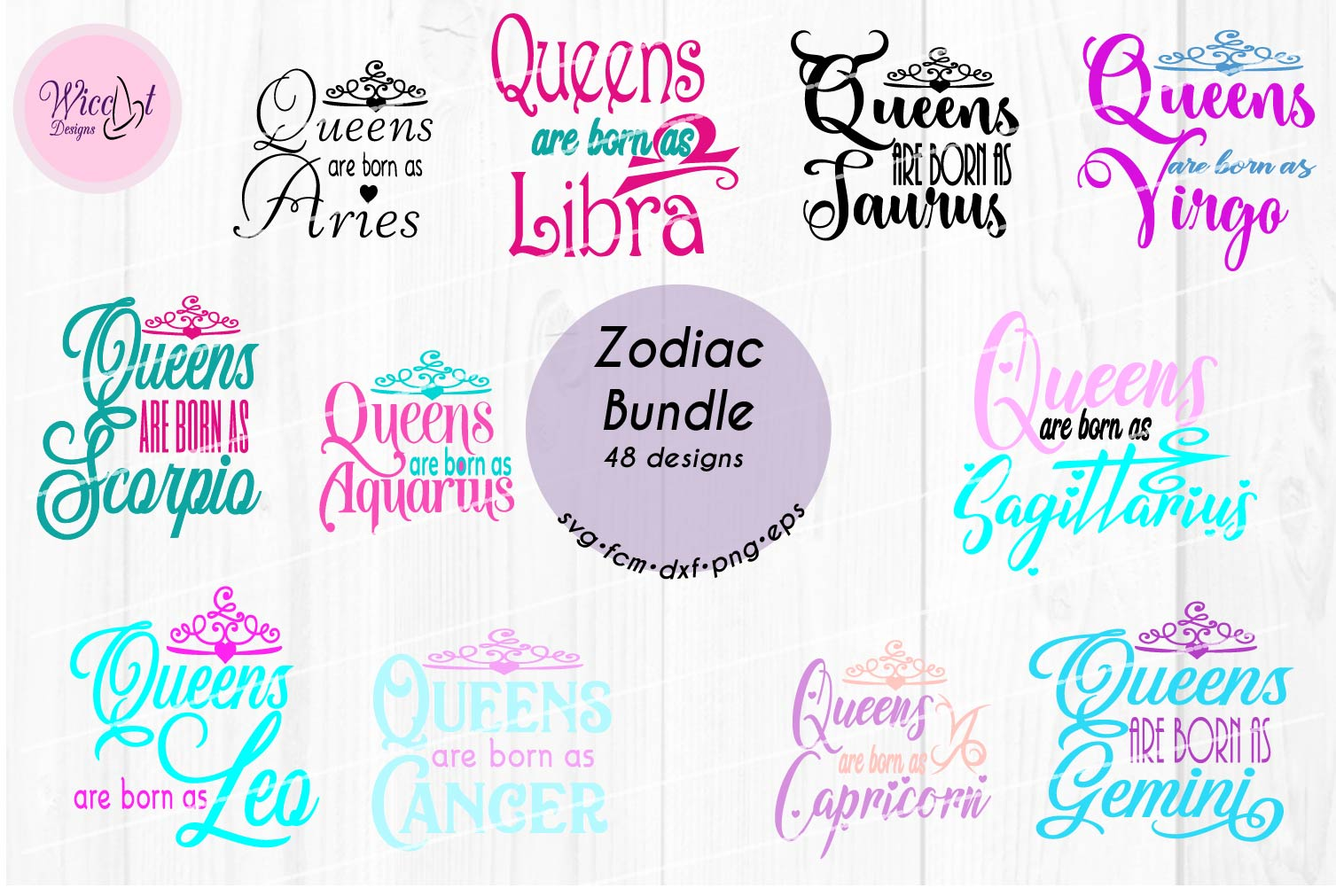 Queens are born as ... Zodiac bundle svg, all zodiac signs, example image 2