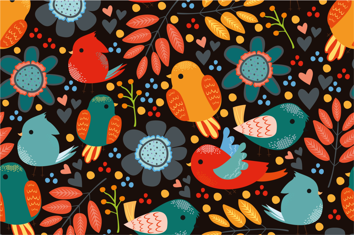 Seamless patterns with birds example image 6