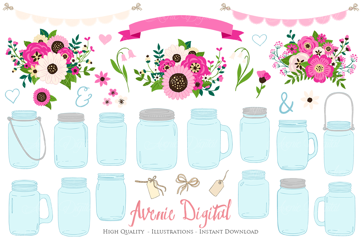Hot Pink Mason Jar Floral Wedding Clipart example image 1