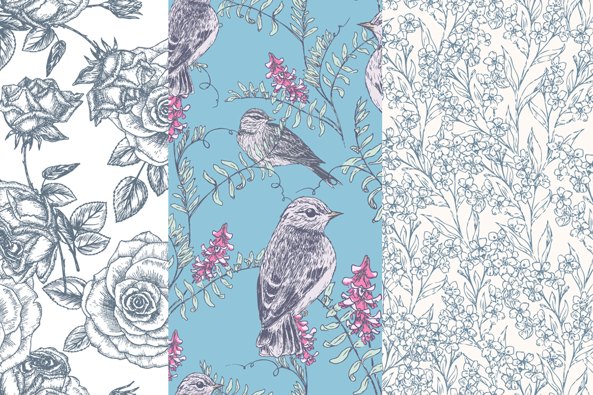 Hand Drawn Floral Vector Patterns example image 7