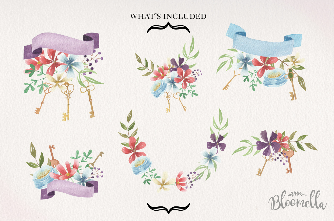 Floral Keys Bouquets Flowers Watercolor Flowers Love Heart example image 3
