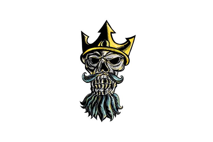 Skull of Neptune Trident Crown Head Woodcut example image 1