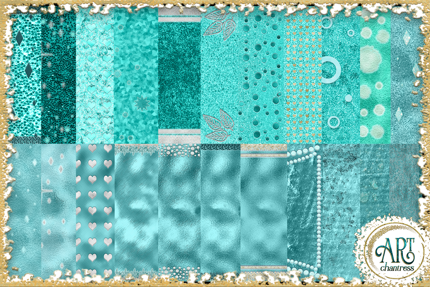 Blue Glitter Digital Papers example image 2