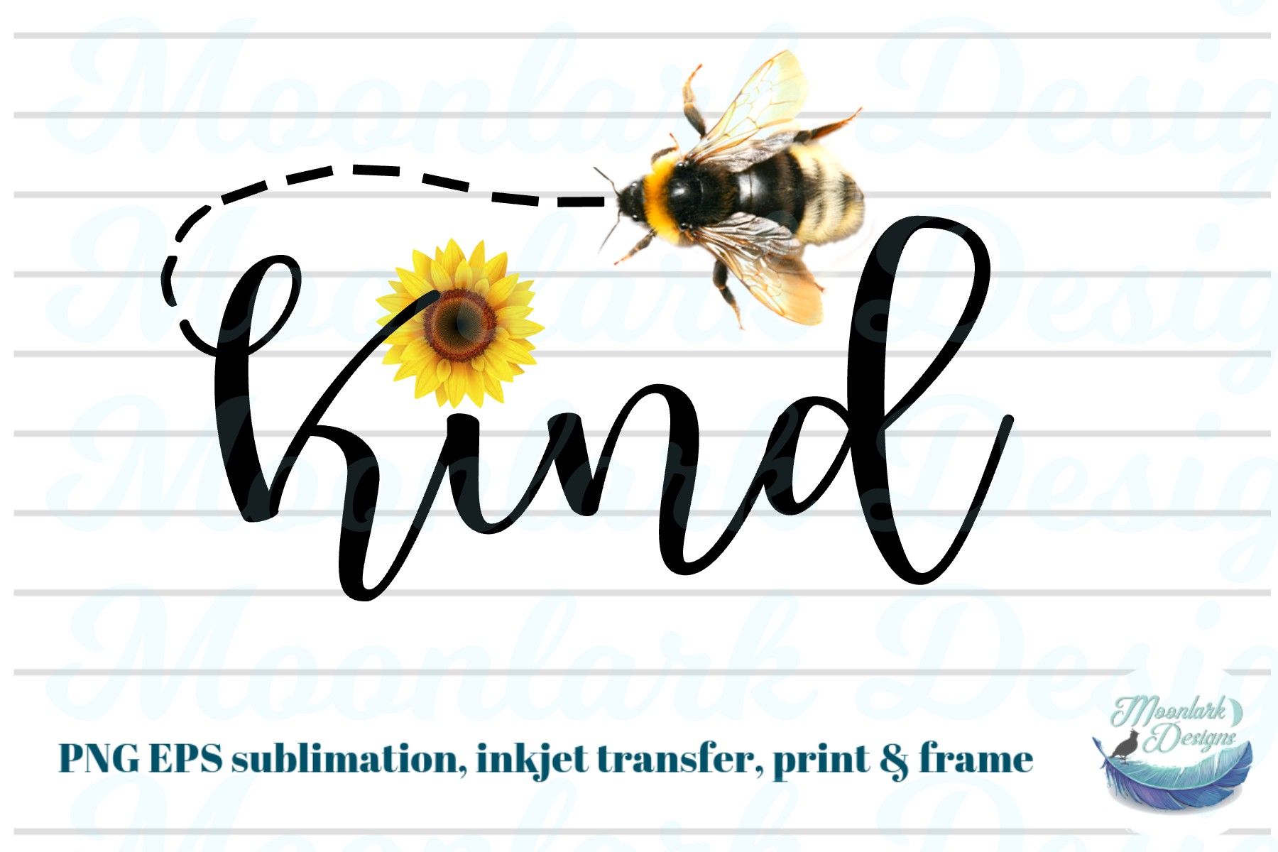 Bee Be Kind with a cheerful Sunflower PNG EPS | fall summer example image 1