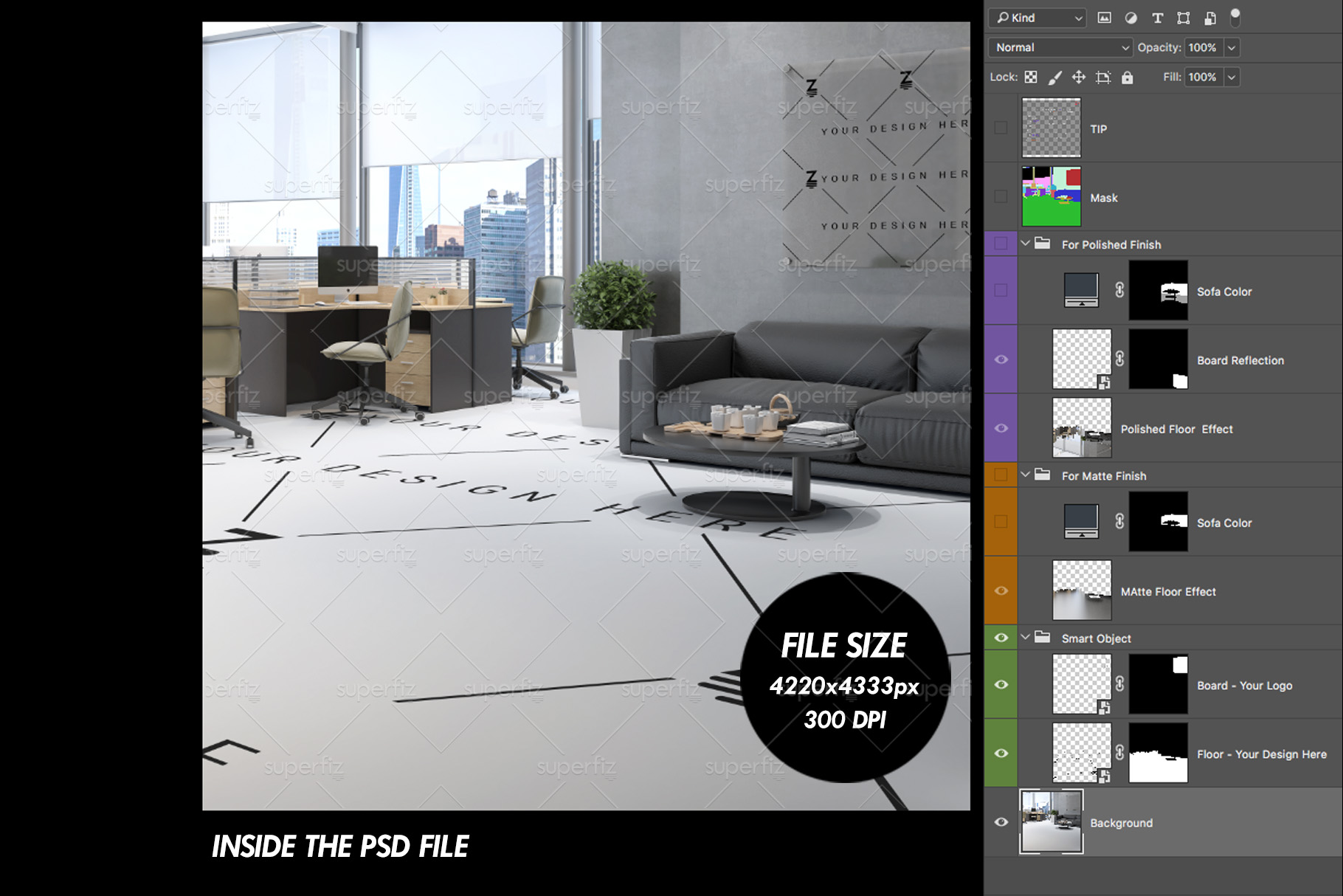 Blank Floor Commercial PSD Mockup SM76 example image 6