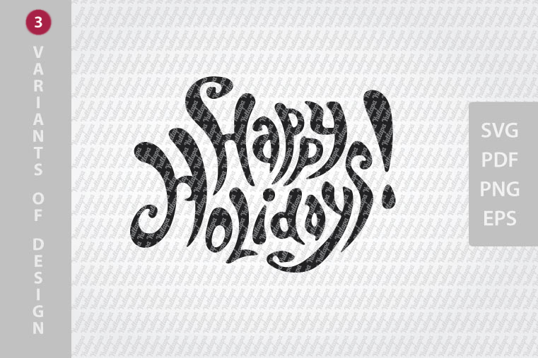 Happy Holidays SVG lettering, New Year festive design example image 3