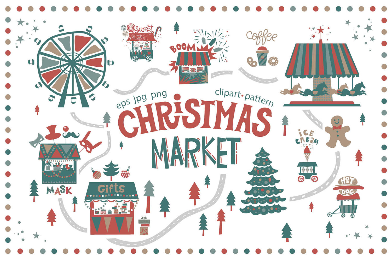 Christmas market. Graphic set example image 1