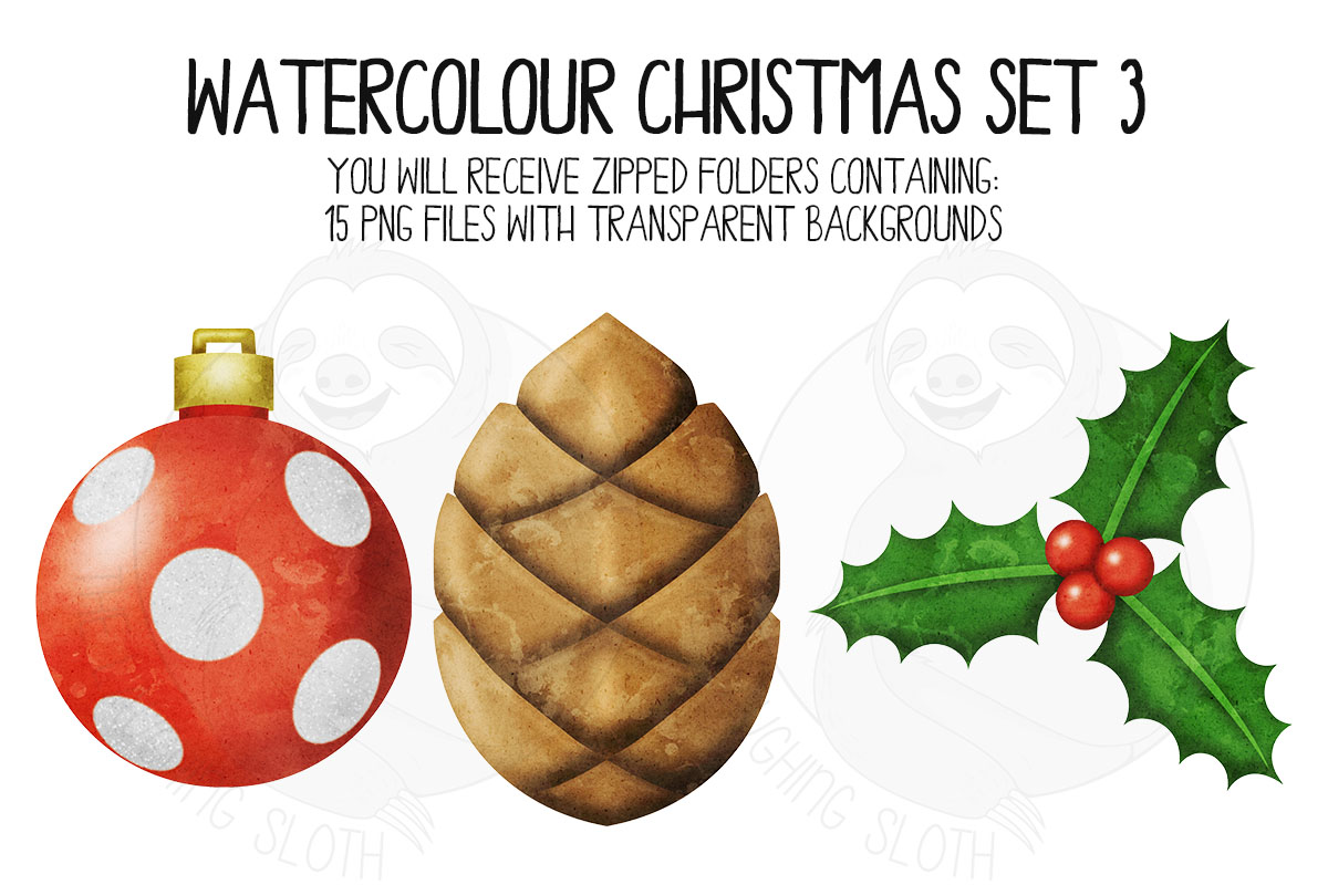 Watercolor Christmas Clipart Set 3 example image 6