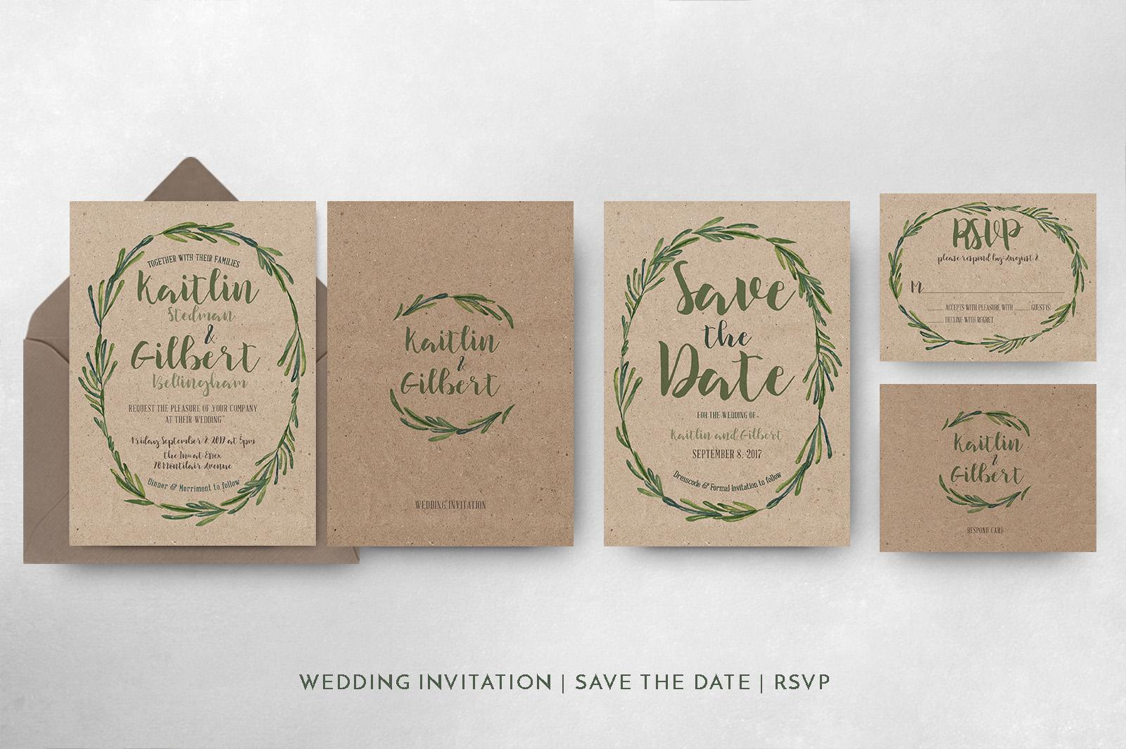 Elegant Wreath Wedding Invitation Suite example image 6
