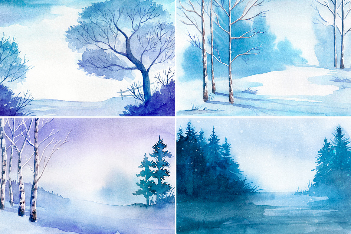 Winter Landscapes. Watercolor. example image 3