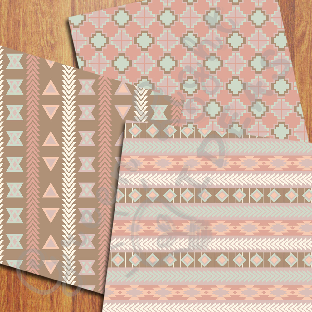 Earth Tribal Digital Papers, Aztec Backgrounds example image 2