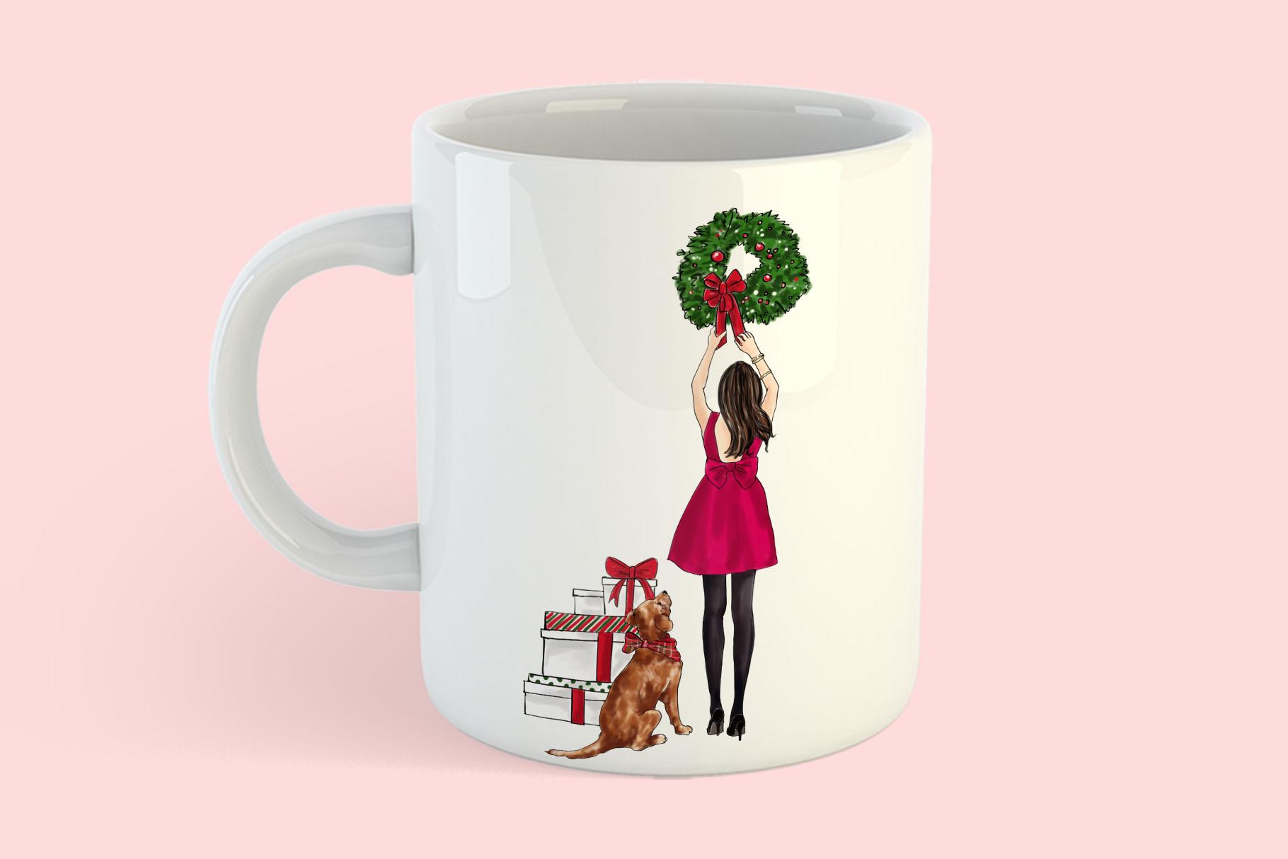 Fashion illustration - Christmas Girl 7 - Brunette example image 8