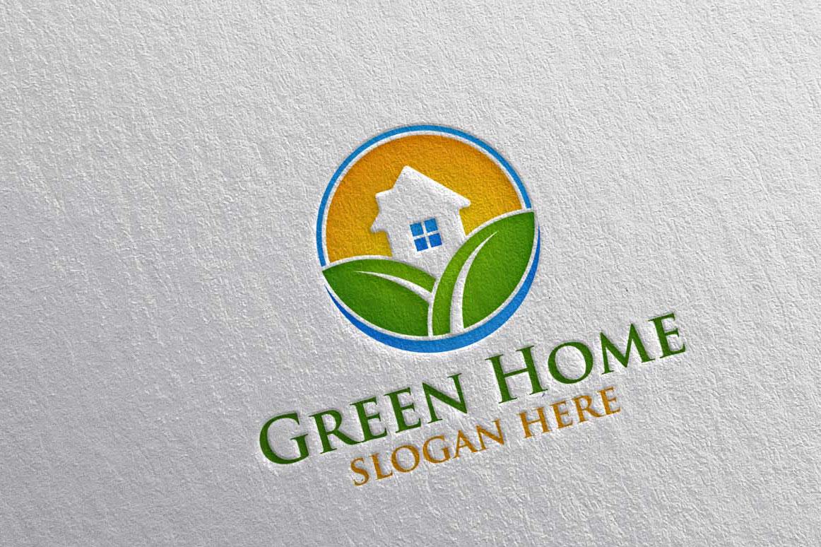 Real estate Logo, Green Home Logo 22 example image 3