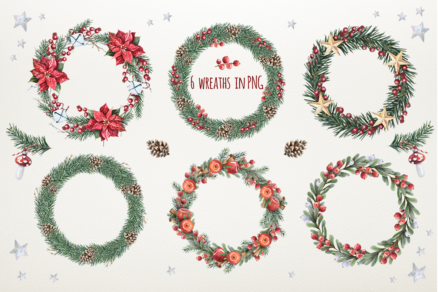 Magic Christmas set. Watercolor clipart collection example image 5