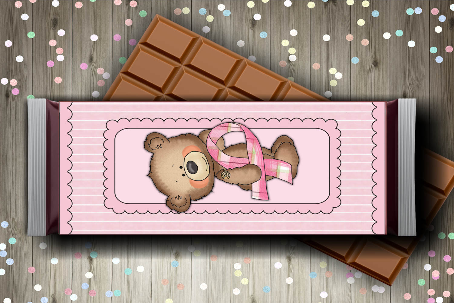 Breast Cancer Bear Candy Bar Wrapper Set example image 3