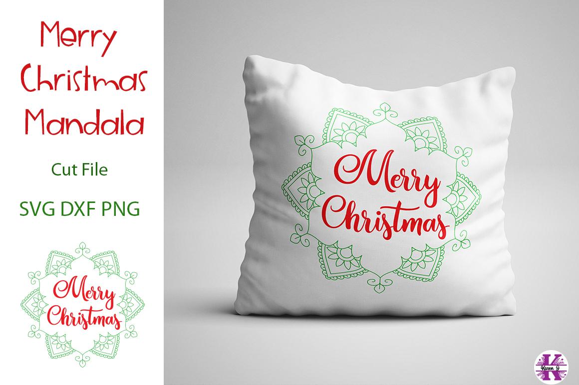 Merry Christmas Mandala SVG Cut File example image 2