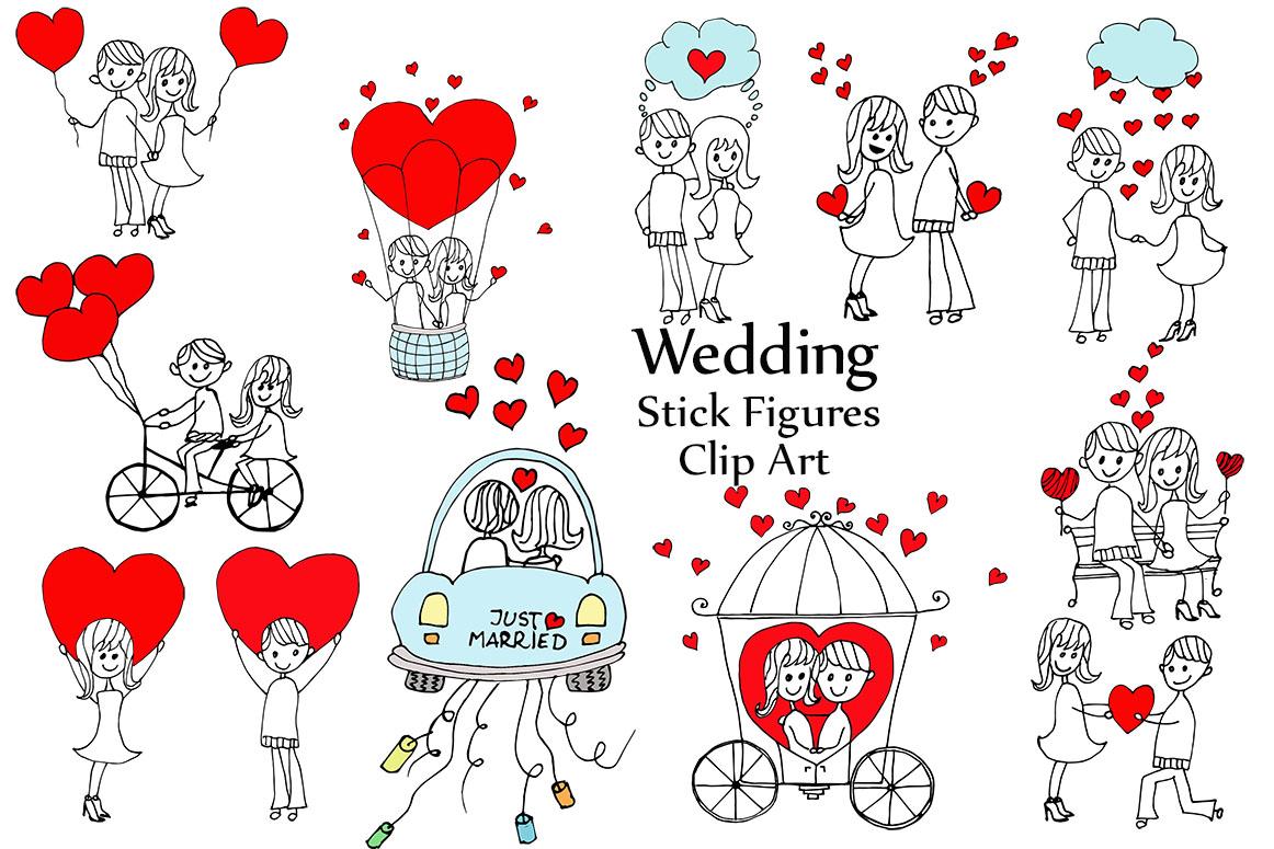Wedding stick figure clip art example image 1