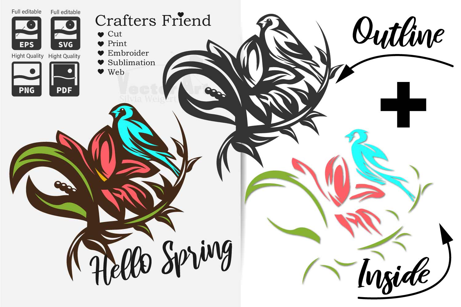 Flower with Bird - Print and Cut example image 1