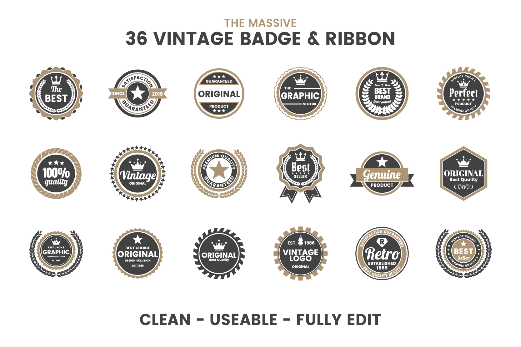 36 VINTAGE BADGE & RIBBON Vol.6 example image 5
