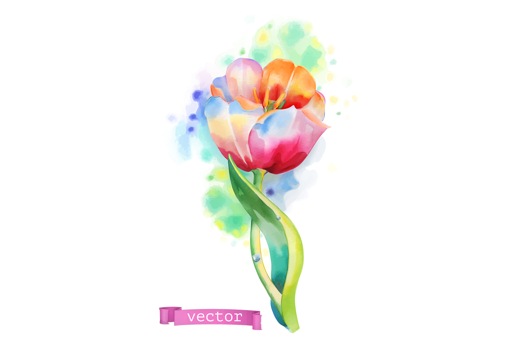 Flowers set. Rose and other plants. Watercolor, vector icons example image 2