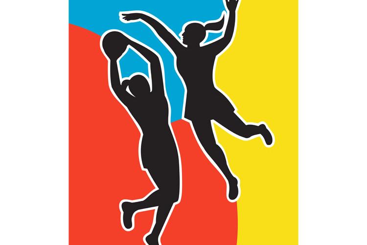 netball player jumping shooting blocking example image 1
