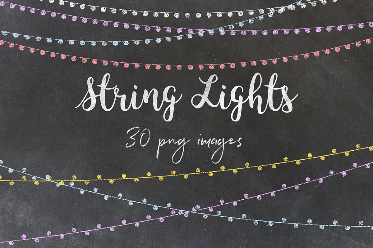 Chalkboard String Lights Clipart example image 1