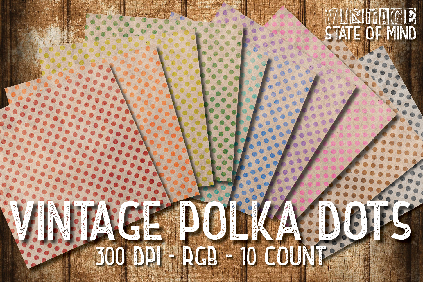 Vintage Polka Dots Digital Papers example image 2