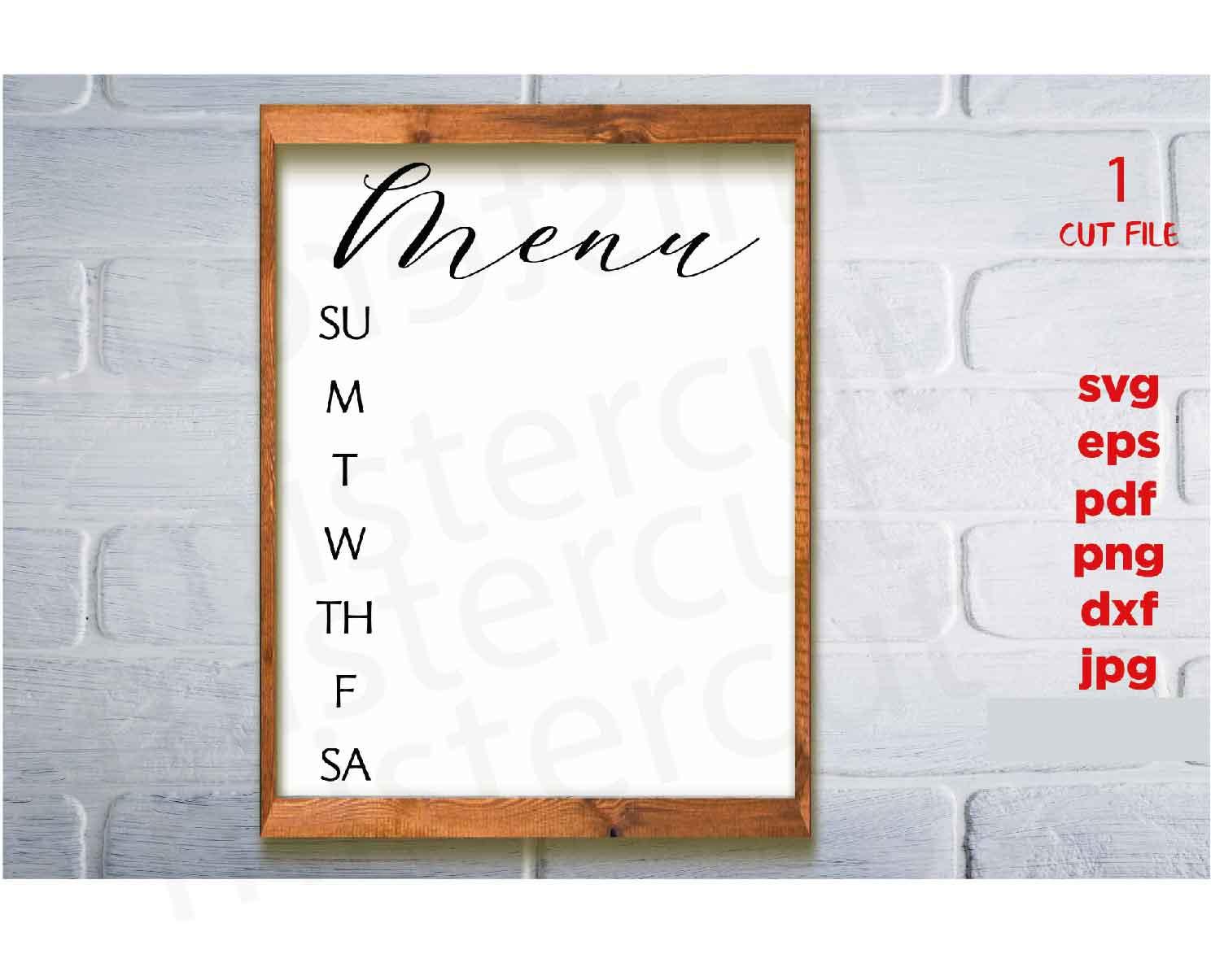 Menu svg, Weekly Menu svg, Menu Board svg, home sign svg, dx example image 2