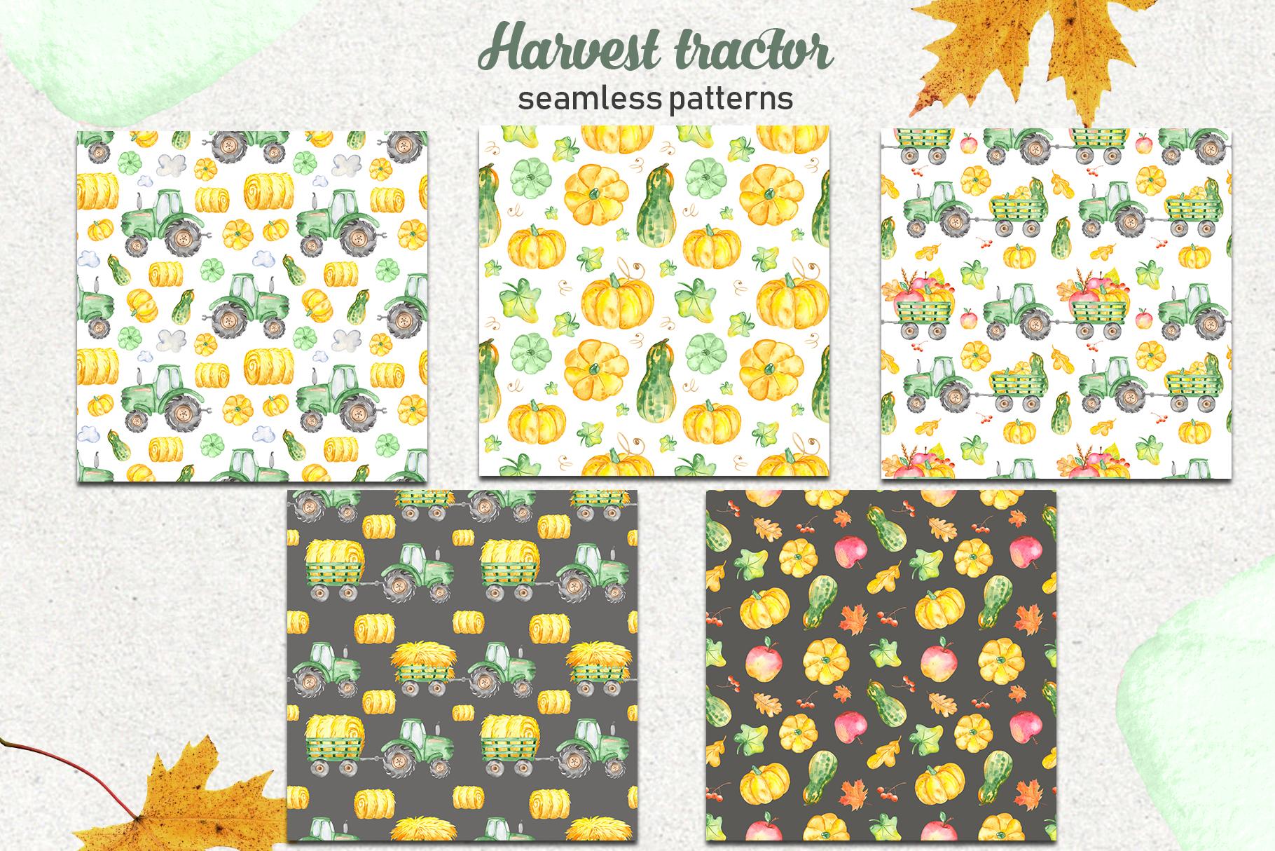 Tractor, harvesting, hay, pumpkin, farm. Watercolor clipart example image 5