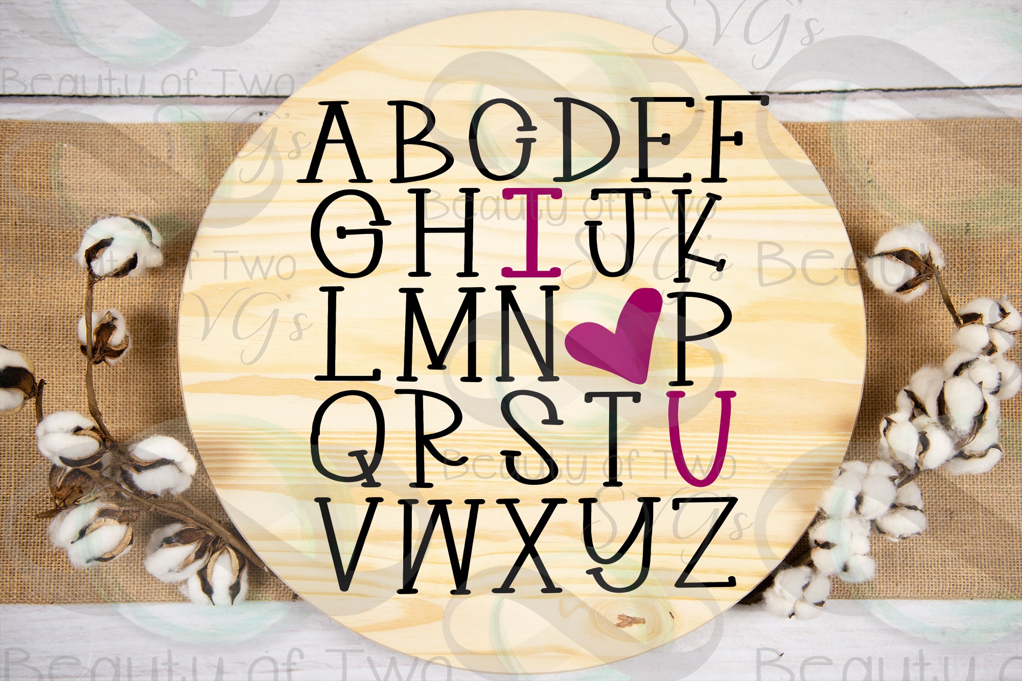 Farmhouse Valentines I love you Alphabet svg, love svg example image 2