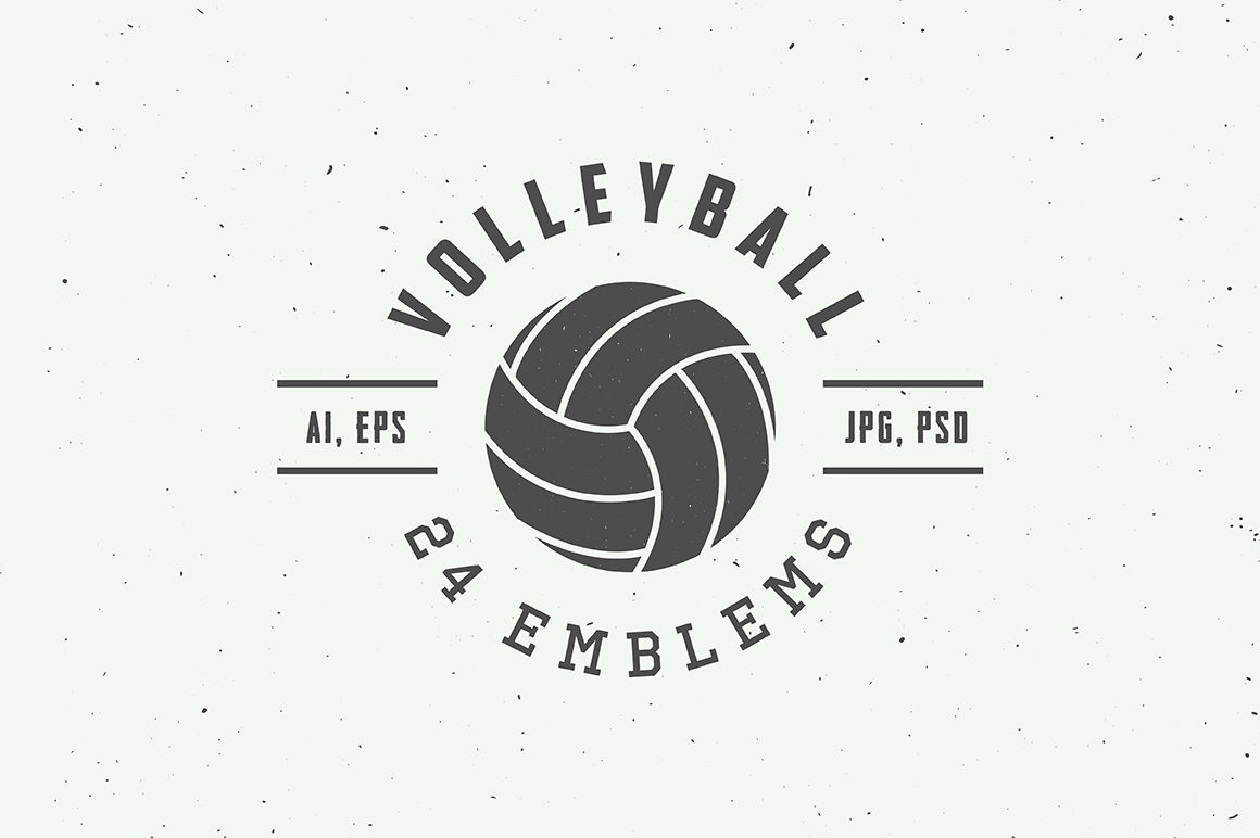 Set of 24 vintage volleyball emblems example image 1