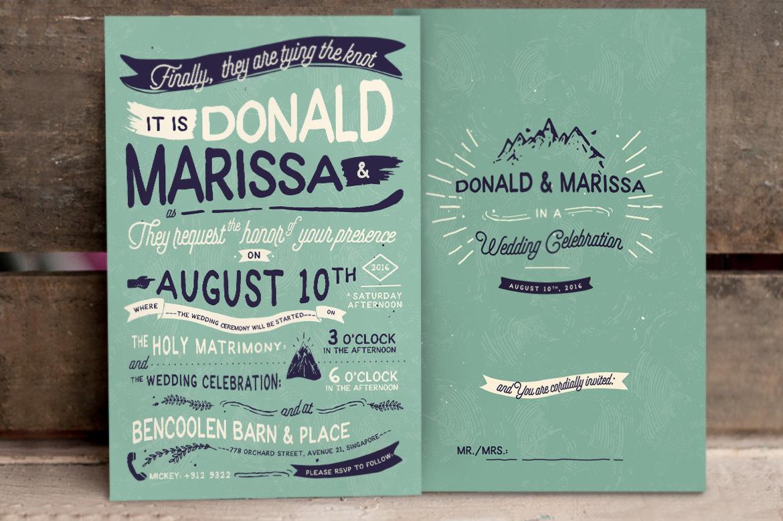 Vintage Hand Lettering Wedding Invitation Vol II example image 3