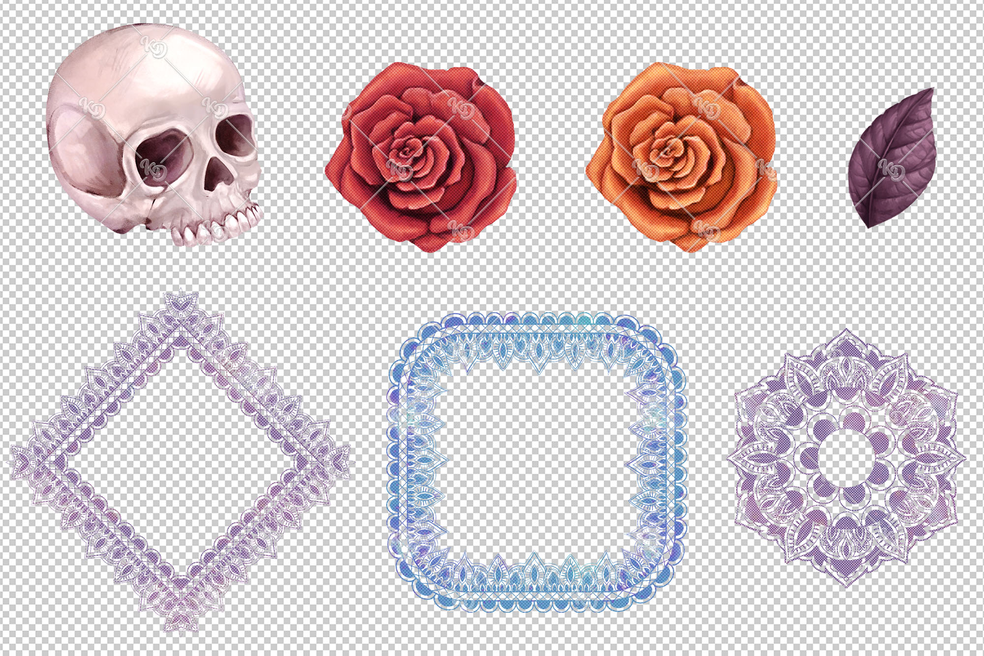 Sugar Skull Clipart, Mexican Lace Clipart, Day of the Dead example image 3
