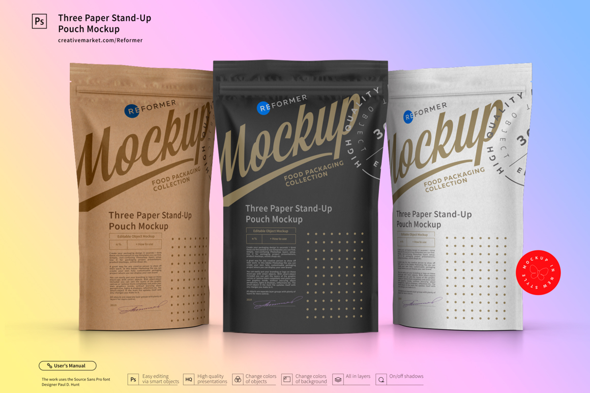 Three Paper Doy-Pack Pouch Mockup example image 3