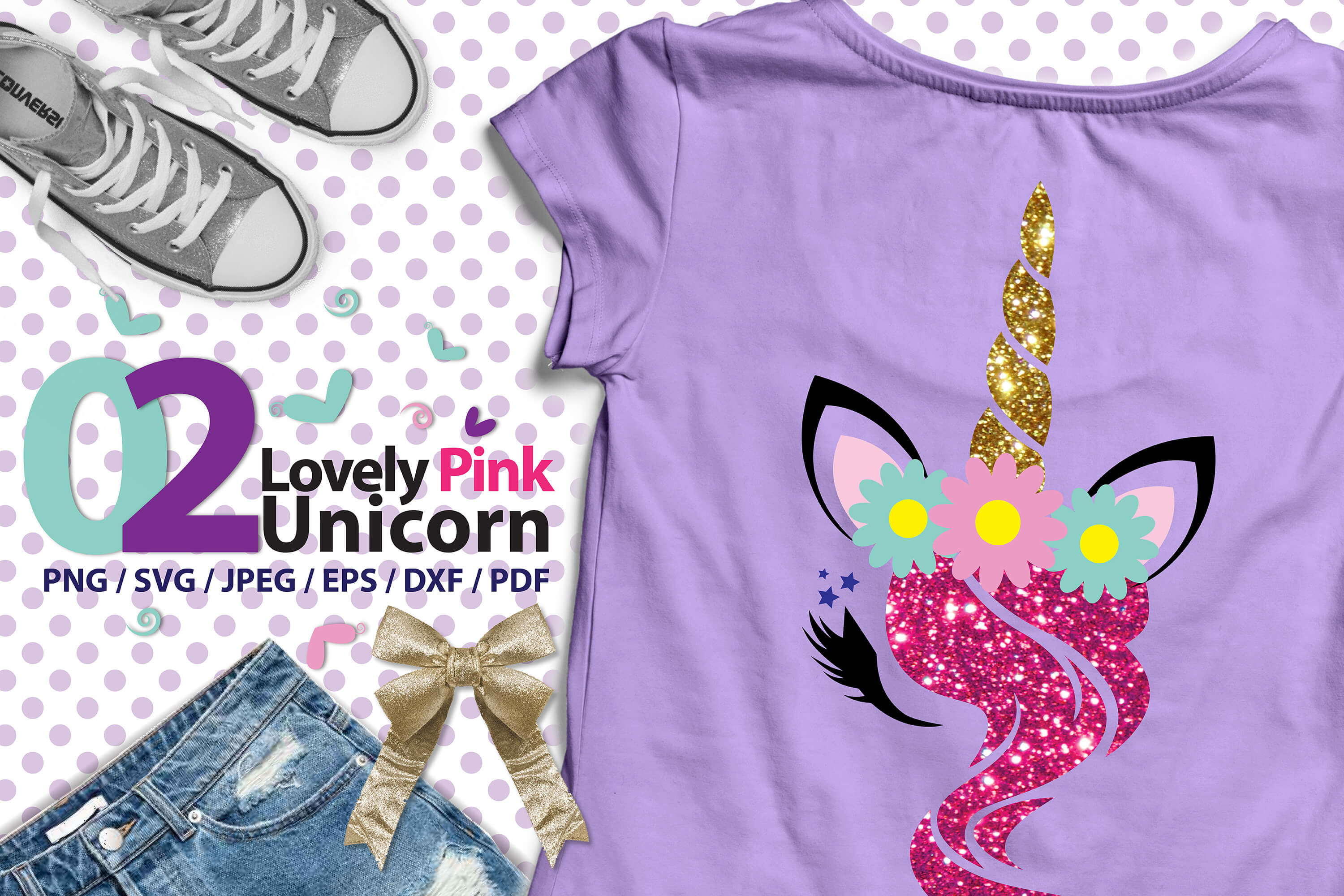 Lovely Pink Unicorn 02 high res svg example image 1