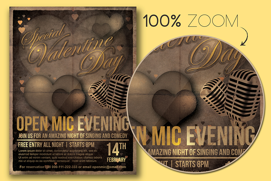 Valentine Day Open Mic Flyer Template example image 2
