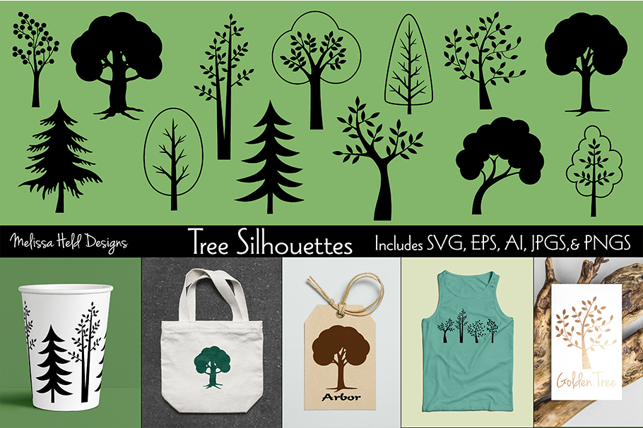 SVG Tree Silhouettes example image 1
