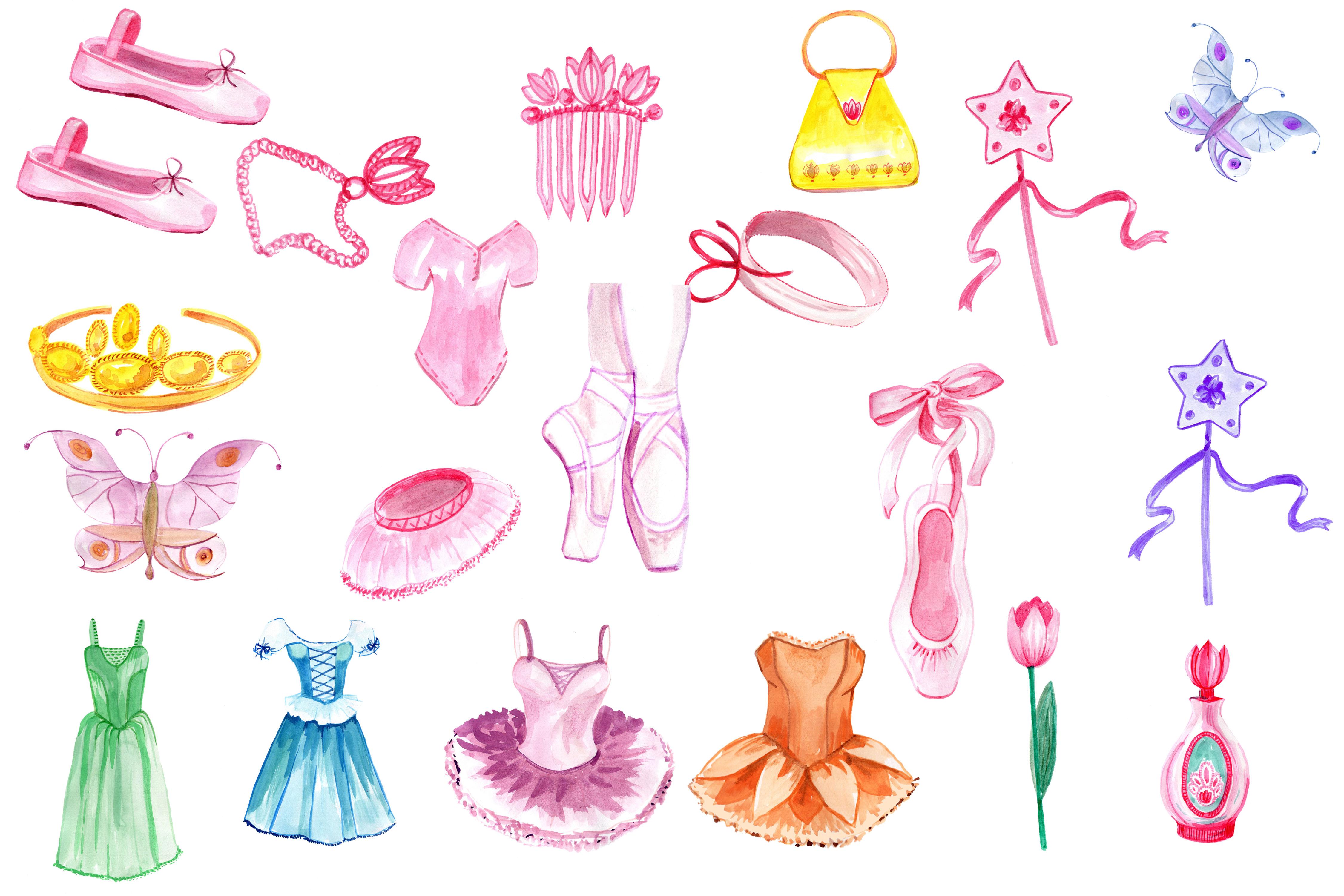 Watercolor ballerina clipart example image 3