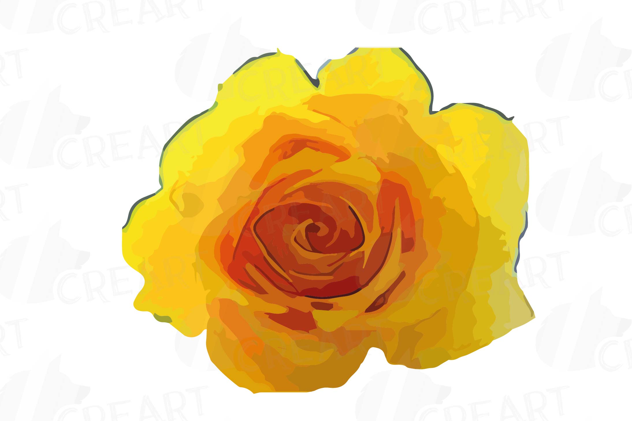 Watercolor yellow flowers and green leaves clip art pack example image 14