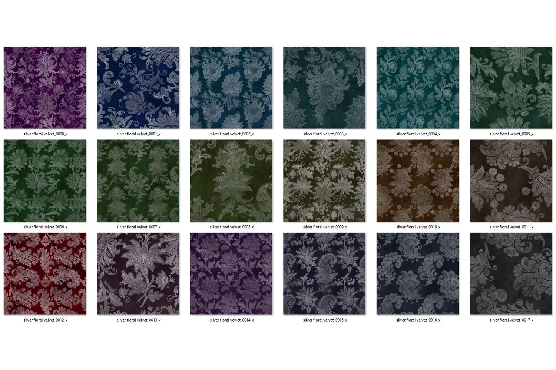 Silver Floral Velvet Digital Paper example image 4